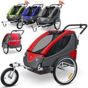 KESSER® Cruiser Kinderanhänger Fahrradanhänger 360° Drehbar mit Federung 2in1 Joggerfunktion Kinderfahrradanhänger + 5-Punkt Sicherheitsgurt , Jogger Fahrrad Anhänger für 1 bis 2 Kinder max. 40kg, Farbe:Rot-Anthrazit