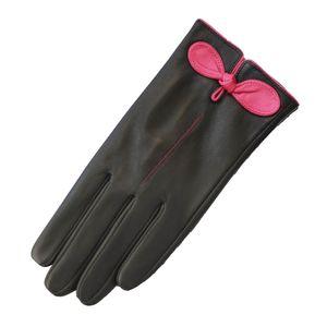 Eastern Counties Leather Damen Kontrast Schleife Lederhandschuhe EL210 (M) (Schwarz/Fuchsia)