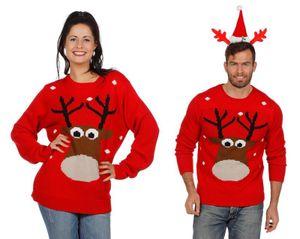 W7822-XXL rot Damen Herren Weihnachtspulli Rentier Gr.XXL