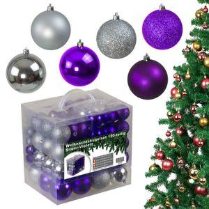 120tlg Weihnachtskugeln Christbaumkugeln Christbaumschmuck Silber/Violett