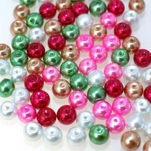 200 Glas-Perlen rund 6mm Fädelperlen Bastelperlen Glasperlen Farbmix, Farbe:Farbmix 2