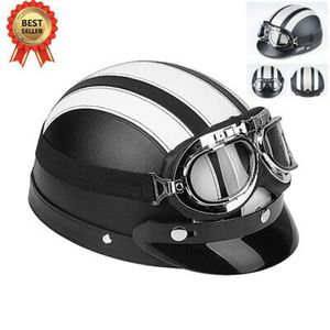 Universal Jethelm Motorradhelm Rollerhelm Halbschalenhelm Retro Helm + UV-Brille 54-60CM