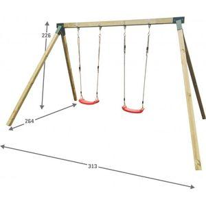 Doppelschaukel für Kinder Holzschaukel Kinderschaukel Gartenschaukel - (4007)