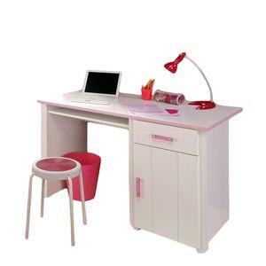 Schreibtisch Mona 122 x 65 cm 1 große Tür + 1 Schublade + 1 großes offenes Fach weiß / rosa Computer PC Mädchen Kinder Jugendzimmer