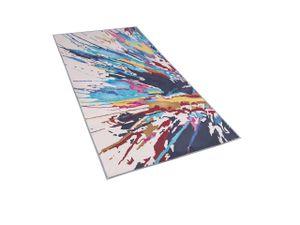 Teppich Bunt Polyester 80 x 150 cm Kurzflor Aquarell Design Bedruckt Rechteckig