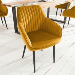 Edler Design Stuhl TURIN Samt senfgelb mit Armlehne Esszimmerstuhl Konferenzstuhl