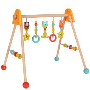 Holz Spieltrapez Spielcenter Spielbogen Baby-Gym Motorik höhenverstellbar, Gelb