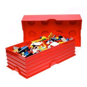 LEGO Aufbewahrungsbox Spielzeugkiste Box 8er, 50x25x18 cm, stapelbar, Farbe:rot