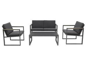 Bel Sol® Aluminium Lounge Set HUGO, Sitz- und Rückenlehnen-Kissen aus hochwertigen Olefin-Bezug