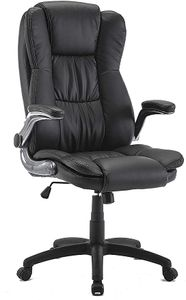 IntimaTe WM Heart Schreibtischstuhl, Ergonomischer Chefsessel, Bürostuhl mit klappen Armlehnen, Drehstuhl aus Kunstleder 360 Grad drehbar, Schwarz