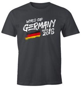 Herren Fan-Shirt Deutschland WM 2018 Fußball Weltmeisterschaft Trikot Flagge T-Shirt Fußball-Shirt Deutschland-Shirt Fan-Trikot Deutschland-Trikot Moonworks® dunkelgrau XXL