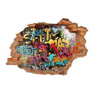149 Wandtattoo Graffiti bunt - Loch in der Wand : Größe - 1750 x 1210 mm