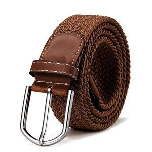 Stoffgürtel Stretchgürtel geflochten und elastisch Gürtel Länge 100 cm bis 130 cm hellbraun