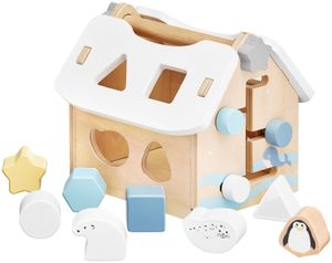 Steckhaus mit Steck-Bausteinen aus Holz - Motorik-Spielzeug Steckwürfel für Kinder ab 3 Jahre