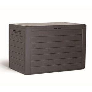 Auflagenbox Balkonbox Kunststoff Holz-Optik Mokka 190L
