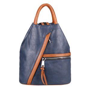 OBC Damen Rucksack Tasche Schultertasche Leder Optik Daypack Backpack Handtasche Tagesrucksack Cityrucksack Blau-Braun