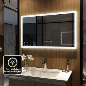 Meykoers LED Badspiegel 100x60cm Badspiegel mit Beleuchtung 3 Lichtfarbe 3000-6500K Lichtspiegel Badezimmerspiegel Wandspiegel mit Touchschalter und Uhr IP44 energiesparend