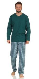 Langer Herren Schlafanzug , Farbe:petrol, Gr. :M - 50