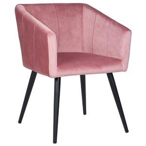 Duhome Esszimmerstuhl Armlehnstuhl Sessel Stoff Samt in Rosa Retro Design