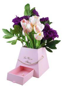 Dekobox mit Juteseil und Geschenkfach   Flowerbox    Hutschachtel   Ordnungsbox   Blumenstrauß  Dekoration   Geschenkbox Rund   Geschenkschachtel   Blumenbox l Rosenbox Farbe Rosa   Aufbewahrungsbox