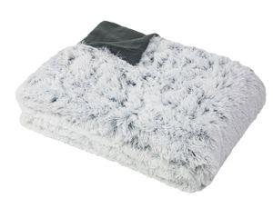 Kuscheldecke in Felloptik, 220x240 cm, grau-weiß