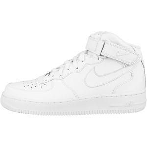 NIKE Air Force 1 Mid ´07 Herren Echtleder-Sneaker Weiß Schuhe, Größe:43