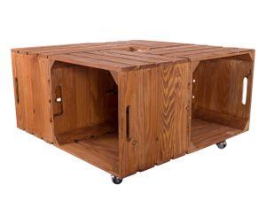 1x Kistentisch aus 4 Kisten im used Look, auf Rollen / 72,5x72,5x37cm / Couchtisch Holz mit viel Platz für Deko