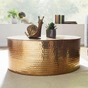 WOHNLING Couchtisch RAHI 75x31x75 cm Aluminium Beistelltisch Gold Orientalisch Rund   Flacher Hammerschlag Sofatisch Metall   Design Wohnzimmertisch Modern   Loungetisch Indisch Stubentisch Klein