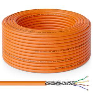 deleyCON 50m CAT.7 Verlegekabel Kupfer Starr S/FTP PIMF Netzwerkkabel Installationskabel LAN Kabel Ethernet Datenkabel Gigabit CAT7 10Gbit 1000MHz LSZH Halogenfrei BauPVO