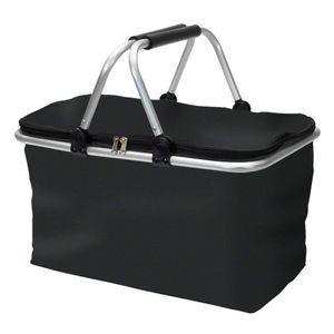 Faltbarer Einkaufskorb faltbar - Tragetasche Klappkorb Tragekorb klappbar Picknickkorb mit Deckel schwarz mit Doppelgriff