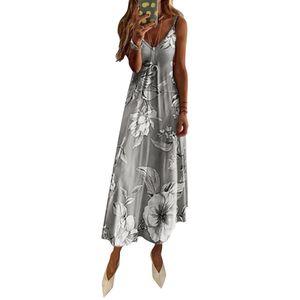 Damen Ärmelloses Kleid mit unregelmäßigen Blumenmotiven Sommer Böhmen Maxi Lange Kleider, Grau, M