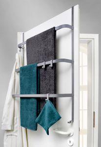 Metall Tür-Aufbewahrung | grau-matt | ohne Bohren | Handtuchhalter mit 4 Haken / 3 Stangen - Hängeregal | universell passend für alle gängigen Türen