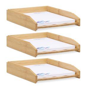 relaxdays 3 x Dokumentenablage stapelbar Briefablage Schreibtischablage Bambus Büroablage