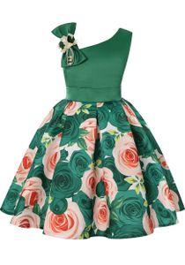 Mädchen Kleider Ärmellos Partei Kleider mit Blumenmuster Elegant Kinder Prinzessin Kleid Kinder Hochzeits Geburtstag Kleid Blumenmädchen Grün,140