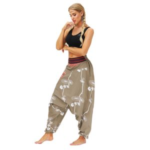 Frauen Casual Loose Yoga Hose Baggy Boho Casual Jumpsuit Haremshose Größe:S,Farbe:Ocker