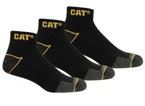 CAT Caterpillar 12 Paar in 43-46 kurze, schwarze Arbeitssocken, Arbeitssneaker