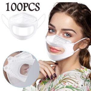 100PCS Adult Transparent Lips Feste Einweg-Gesichtsmaske Earloop Anti-PM2.5 Mask