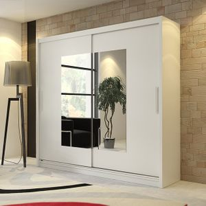 Mirjan24 Schiebetürenschrank Kola VI 180, Praktische Garderobenschrank, Stilvoll Kleiderschrank mit Spiegel (ohne Beleuchtung, Farbe: Weiß)