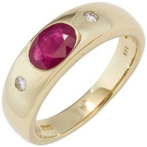 JOBO Damen Ring 585 Gold Gelbgold 1 Rubin rot 2 Diamanten Brillanten Goldring Größe 60