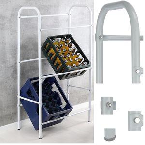 Flaschenkastenständer für bis zu 6 Kästen, aus Stahlrohr, weiß