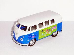 """VOLKSWAGEN Bus T1 1963 """"Flower Power"""" Samba Bulli VW Modell Metall Modellauto Spielzeugauto Hippie Geschenk Bully Welly 19 (Blau)"""