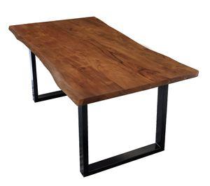 SIT Möbel Baumkante-Esstisch 160 x 85 cm | Tischplatte Akazie nussbaum-farbig | Gestell Stahl schwarz lackiert | B 160 x T 85 x H 77 cm | 07189-99 | Serie TISCHE & BÄNKE