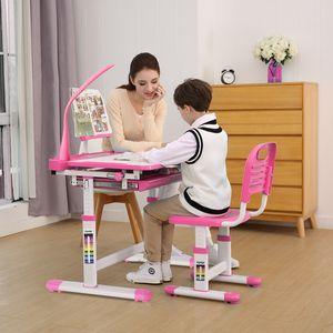 Kinderschreibtisch Schreibtisch Jugendschreibtisch Höhenverstellbar Mit LED Lampe Kindertisch mit Stuhl Schülerschreibtisch Rosa Kindermöbel für Jungen und Mädchen Pink