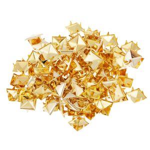 100 Stü Suqare Pyramidennieten Nailheads Für DIY Leder Zubehör Farbe Golden