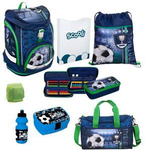 Fußball Schulranzen Set 8tlg. Scooli Twixter Up Schulrucksack Sporttasche Blau