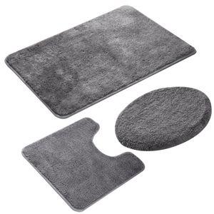 3-teiliges Badezimmer Teppich-Set, rutschfeste Microfaser, zottel, weich, Badematte, Kontur Badematte, Toilettensitzbezug, 50 x 80 cm,Grau