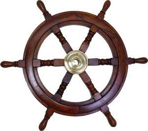 Maritimes Schiffssteuerrad aus Holz mit Messingnabe Durchmesser 60 cm