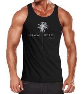 Herren Tank-Top Hawaii Beach Palme Muskelshirt Muscle Shirt Neverless® schwarz L