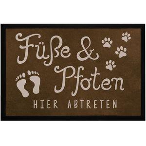 Fußmatte Füße und Pfoten hier abtreten Spruch lustig Hund Katze Haustier-Besitzer rutschfest & waschbar Moonworks® Pfote 2 schwarz 60x40cm