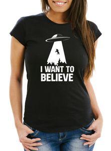 Damen T-Shirt UFO Einhorn I Want To Believe Fun-Shirt Moonworks® schwarz XXL